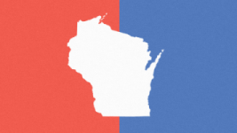 Wisconsin Map Red & Blue