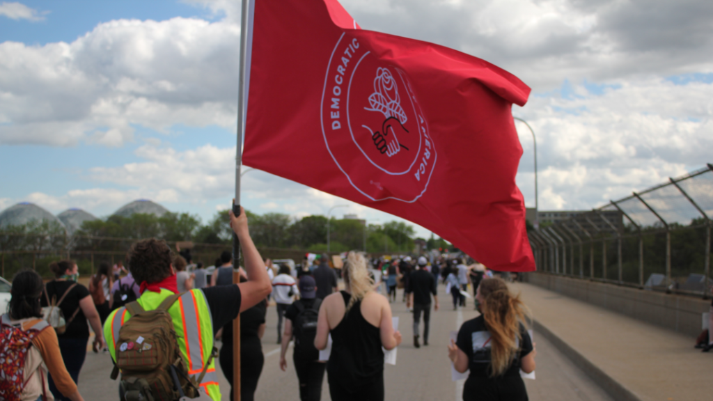 DSA flag at protest march