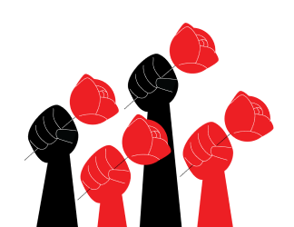 Roses in fists illustration